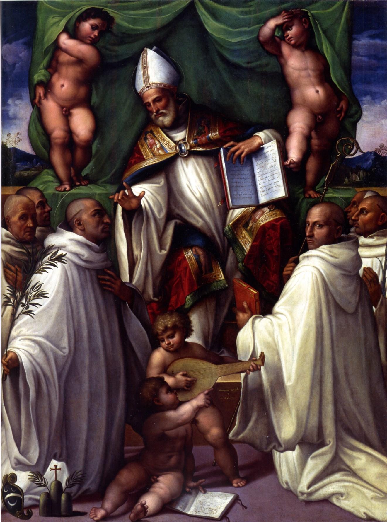 Beato Bernardo Tolomei riceve la Regola dell'Ordine Olivetano da San Benedetto