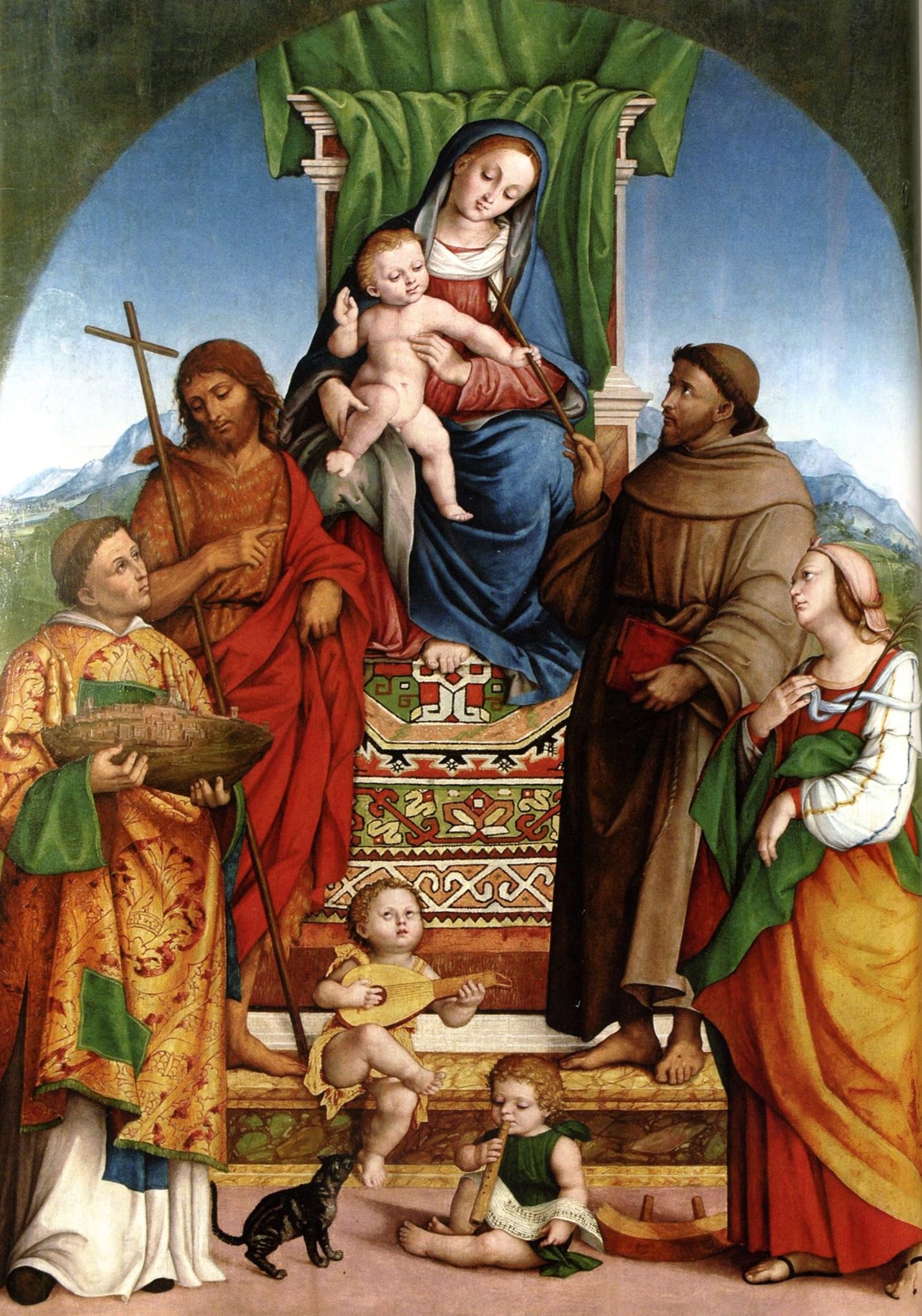 Madonna con il Bambino in trono e i Santi Marino, Giovanni Battista, Francesco e Caterina D'Alessandria